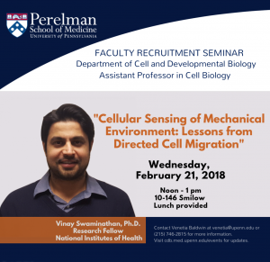 CDB Seminar (Recruitment) - Vinay Swaminathan, Ph.D. @ 10-146 Smilow | Philadelphia | Pennsylvania | United States